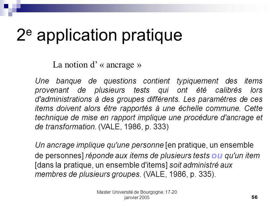 Master Université de Bourgogne, 17-20 janvier 200556 2 e application pratique La notion d « ancrage » Une banque de questions contient typiquement des