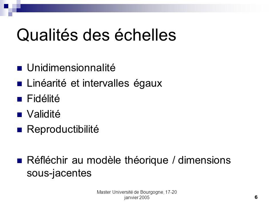 Master Université de Bourgogne, 17-20 janvier 20056 Qualités des échelles Unidimensionnalité Linéarité et intervalles égaux Fidélité Validité Reproduc