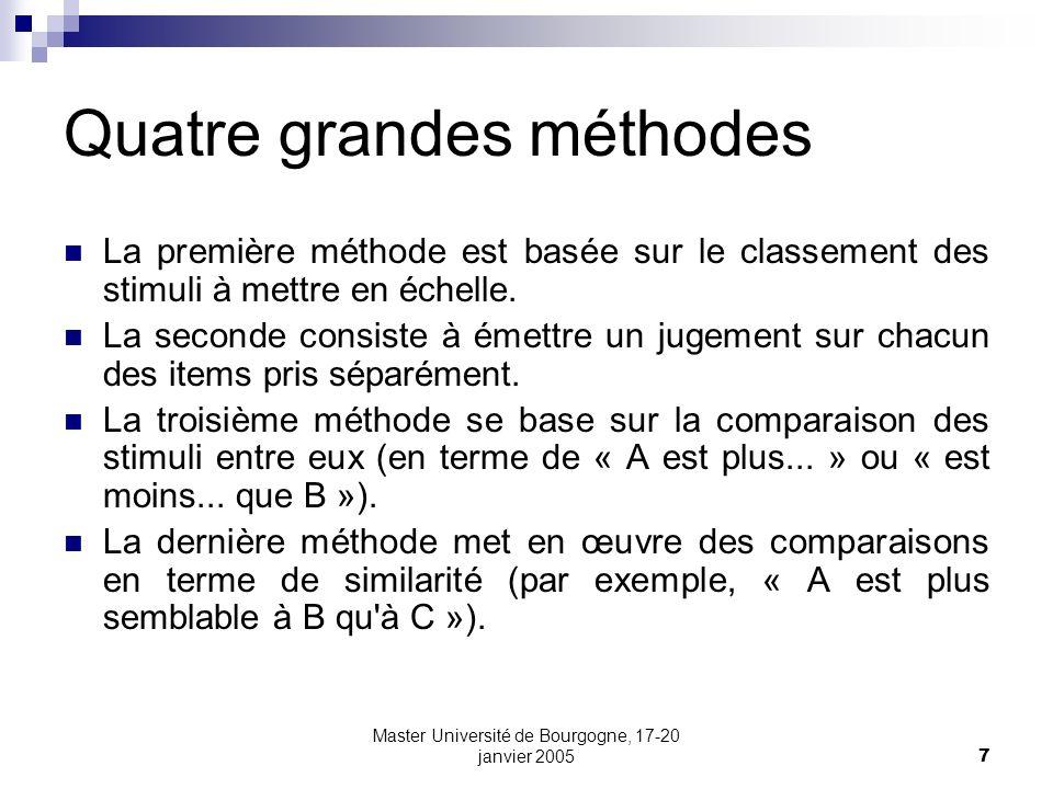 Master Université de Bourgogne, 17-20 janvier 20058 Thurstone L échelle postulée par Thurstone est une échelle « psychologique » non précisée, contrairement à l échelle de Fechner qui postule une réelle échelle de sensation.