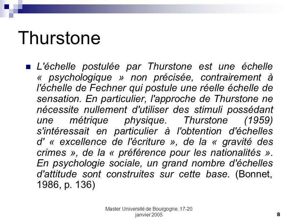 Master Université de Bourgogne, 17-20 janvier 200549 Le « modèle de Rasch » La probabilité qu un sujet n obtienne une réponse positive à l item i, connaissant d une part la difficulté de l item et d autre part la compétence du sujet s exprime donc de la manière suivante: