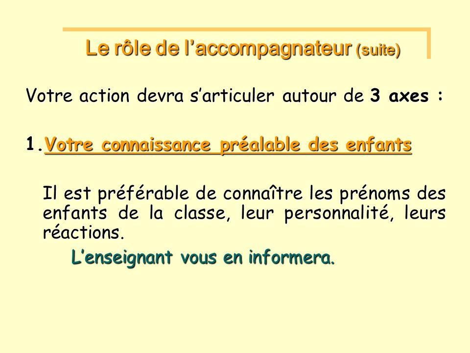 Le rôle de laccompagnateur (suite) Le rôle de laccompagnateur (suite) Votre action devra sarticuler autour de 3 axes : 1.Votre connaissance préalable des enfants Il est préférable de connaître les prénoms des enfants de la classe, leur personnalité, leurs réactions.