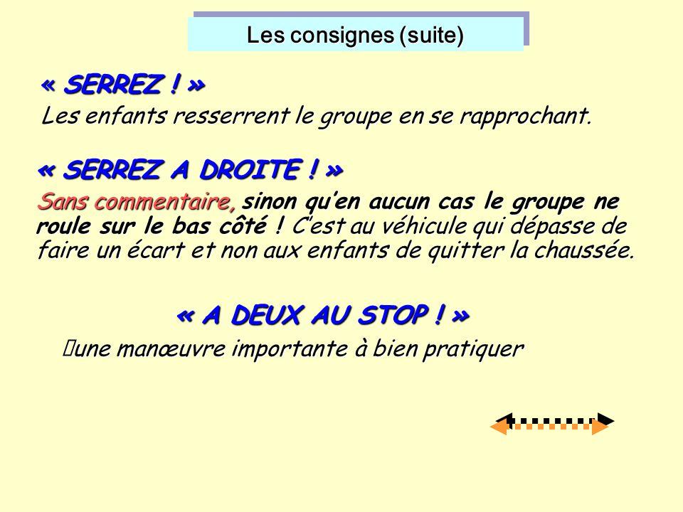 Les consignes (suite) Les consignes (suite) « A DEUX AU STOP .