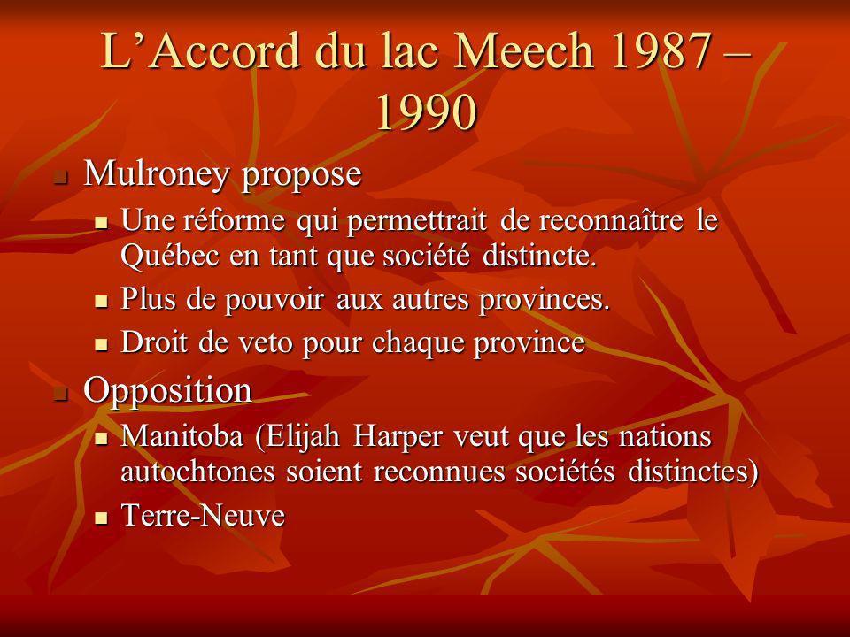 LAccord du lac Meech 1987 – 1990 Mulroney propose Mulroney propose Une réforme qui permettrait de reconnaître le Québec en tant que société distincte.