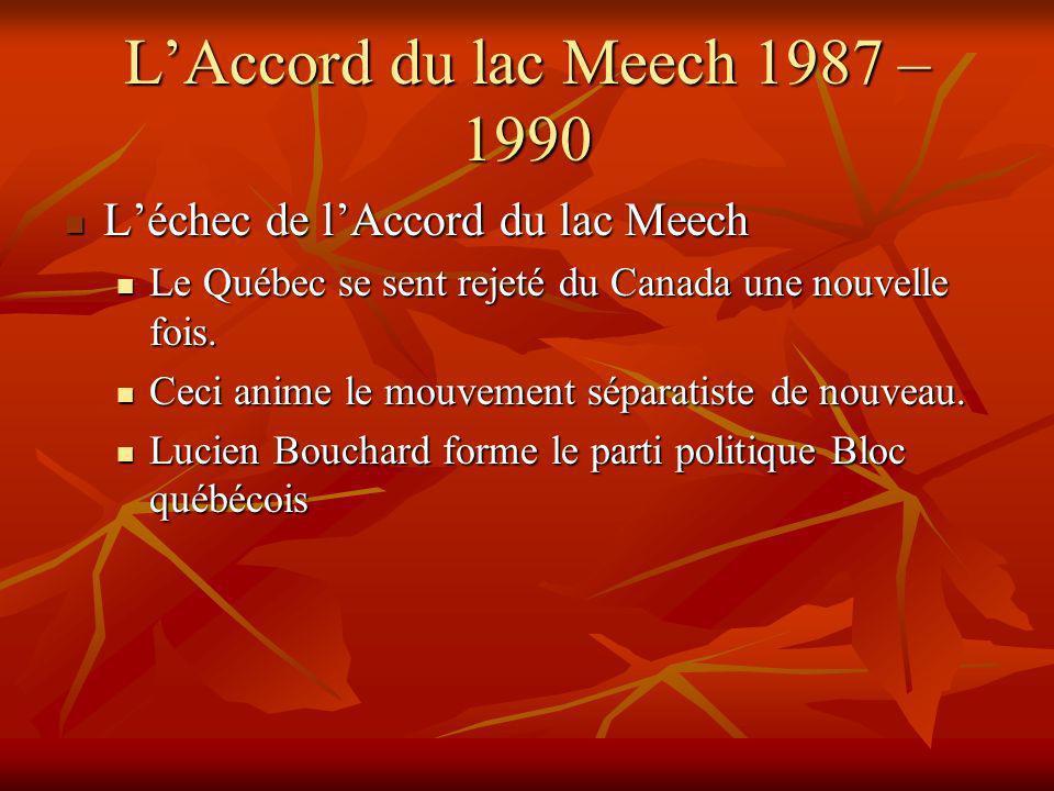 LAccord du lac Meech 1987 – 1990 Léchec de lAccord du lac Meech Léchec de lAccord du lac Meech Le Québec se sent rejeté du Canada une nouvelle fois.