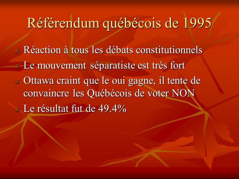 Référendum québécois de 1995 Réaction à tous les débats constitutionnels Réaction à tous les débats constitutionnels Le mouvement séparatiste est très fort Le mouvement séparatiste est très fort Ottawa craint que le oui gagne, il tente de convaincre les Québécois de voter NON Ottawa craint que le oui gagne, il tente de convaincre les Québécois de voter NON Le résultat fut de 49.4% Le résultat fut de 49.4%