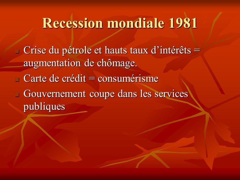 Recession mondiale 1981 Crise du pétrole et hauts taux dintérêts = augmentation de chômage.