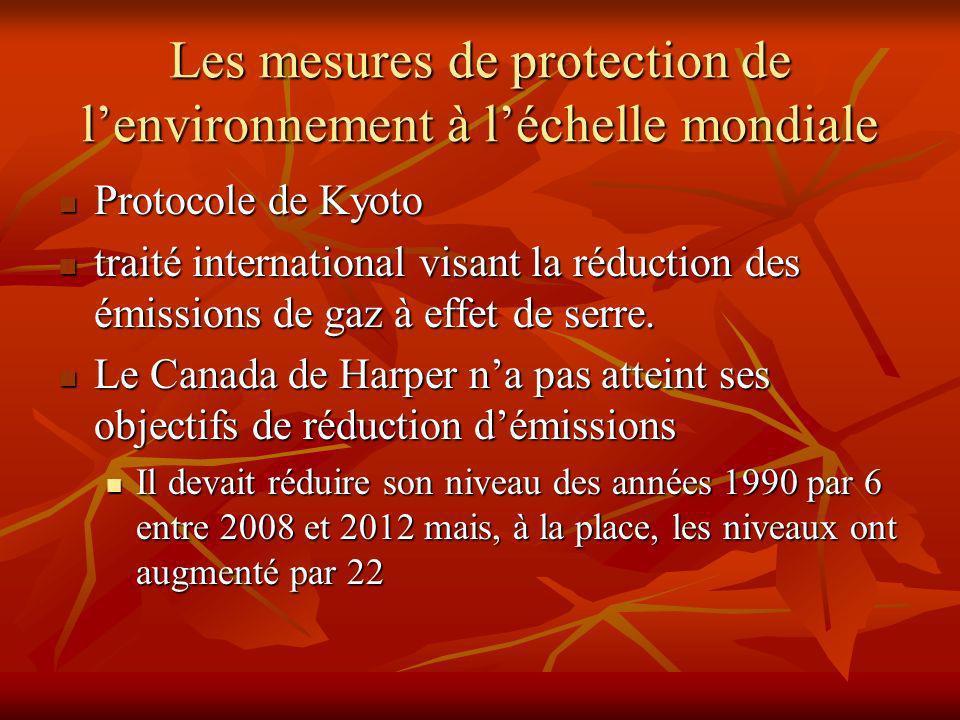 Les mesures de protection de lenvironnement à léchelle mondiale Protocole de Kyoto Protocole de Kyoto traité international visant la réduction des émissions de gaz à effet de serre.