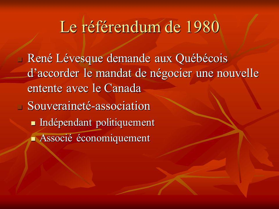 Le référendum de 1980 René Lévesque demande aux Québécois daccorder le mandat de négocier une nouvelle entente avec le Canada René Lévesque demande aux Québécois daccorder le mandat de négocier une nouvelle entente avec le Canada Souveraineté-association Souveraineté-association Indépendant politiquement Indépendant politiquement Associé économiquement Associé économiquement