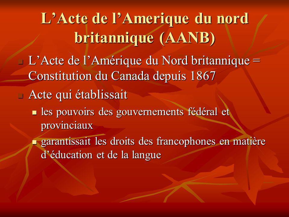 LActe de lAmerique du nord britannique (AANB) LActe de lAmérique du Nord britannique = Constitution du Canada depuis 1867 LActe de lAmérique du Nord britannique = Constitution du Canada depuis 1867 Acte qui établissait Acte qui établissait les pouvoirs des gouvernements fédéral et provinciaux les pouvoirs des gouvernements fédéral et provinciaux garantissait les droits des francophones en matière déducation et de la langue garantissait les droits des francophones en matière déducation et de la langue