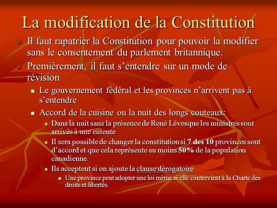 La modification de la Constitution Il faut rapatrier la Constitution pour pouvoir la modifier sans le consentement du parlement britannique.