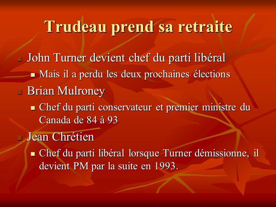 Trudeau prend sa retraite John Turner devient chef du parti libéral John Turner devient chef du parti libéral Mais il a perdu les deux prochaines élections Mais il a perdu les deux prochaines élections Brian Mulroney Brian Mulroney Chef du parti conservateur et premier ministre du Canada de 84 à 93 Chef du parti conservateur et premier ministre du Canada de 84 à 93 Jean Chrétien Jean Chrétien Chef du parti libéral lorsque Turner démissionne, il devient PM par la suite en 1993.