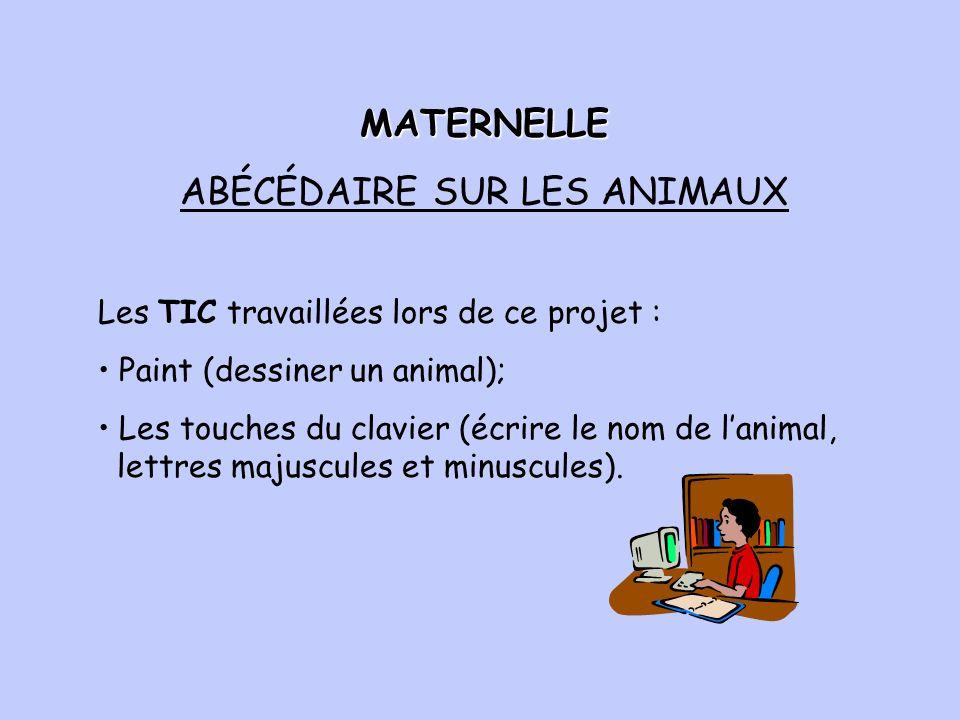 Les TIC travaillées lors de ce projet : Paint (dessiner un animal); Les touches du clavier (écrire le nom de lanimal, lettres majuscules et minuscules).