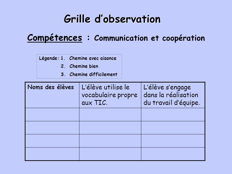 Grille dobservation Noms des élèves Lélève utilise le vocabulaire propre aux TIC.