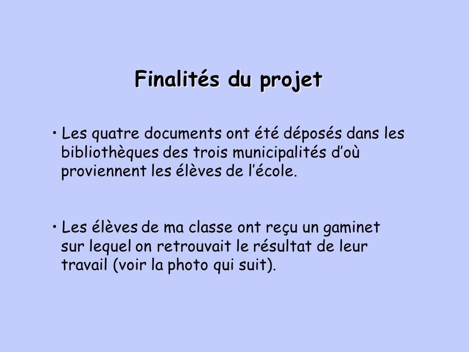 Finalités du projet Les élèves de ma classe ont reçu un gaminet sur lequel on retrouvait le résultat de leur travail (voir la photo qui suit).