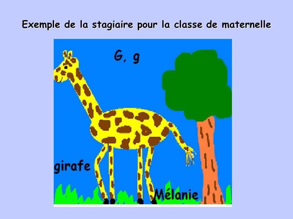 Exemple de la stagiaire pour la classe de maternelle