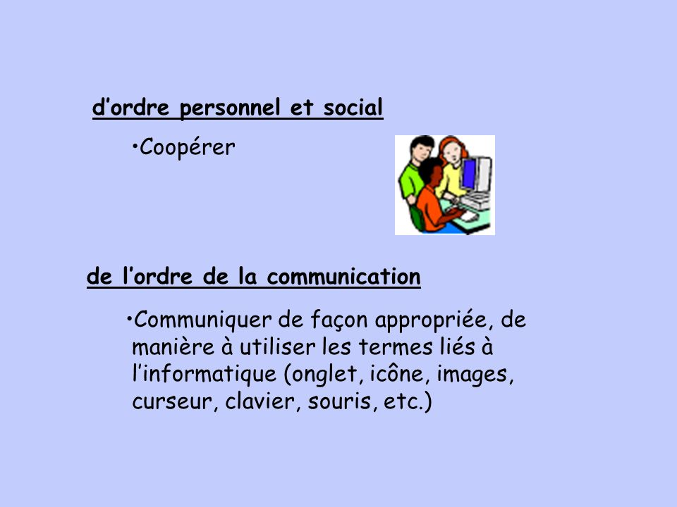 dordre personnel et social de lordre de la communication Coopérer Communiquer de façon appropriée, de manière à utiliser les termes liés à linformatique (onglet, icône, images, curseur, clavier, souris, etc.)