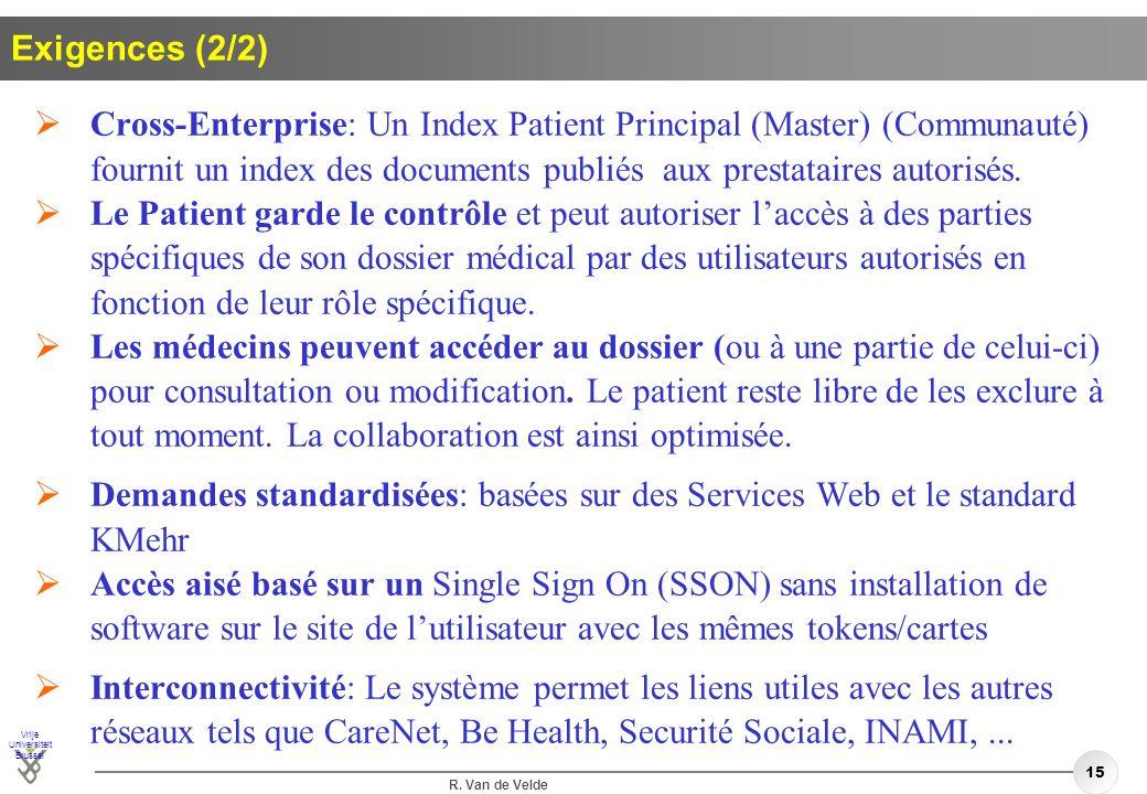 Vrije Universiteit Brussel R. Van de Velde 15 Exigences (2/2) Cross-Enterprise: Un Index Patient Principal (Master) (Communauté) fournit un index des