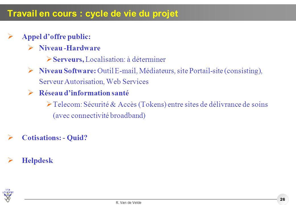 Vrije Universiteit Brussel R. Van de Velde 26 Travail en cours : cycle de vie du projet Appel doffre public: Niveau -Hardware Serveurs, Localisation: