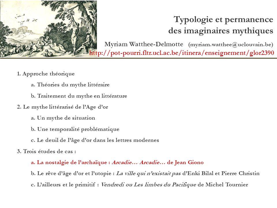 Typologie et permanence des imaginaires mythiques Myriam Watthee-Delmotte (myriam.watthee@uclouvain.be) 1. Approche théorique a. Théories du mythe lit
