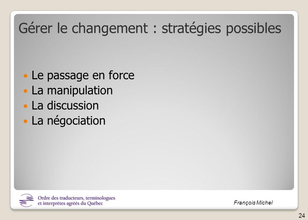 François Michel Le passage en force La manipulation La discussion La négociation Gérer le changement : stratégies possibles 24