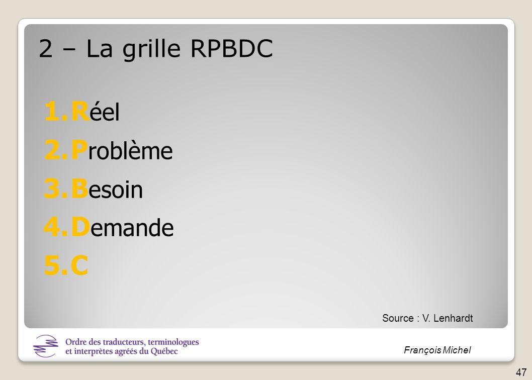 François Michel 2 – La grille RPBDC 1.R éel 2.P roblème 3.B esoin 4.D emande 5.C Source : V. Lenhardt 47