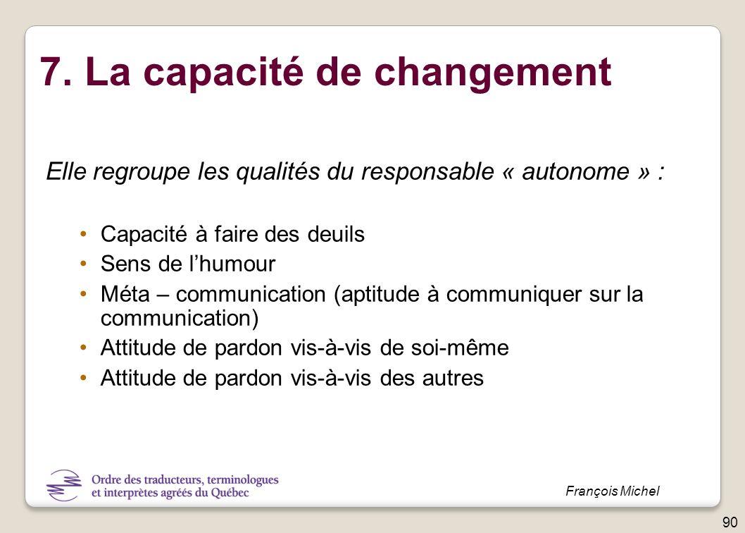 7. La capacité de changement Elle regroupe les qualités du responsable « autonome » : Capacité à faire des deuils Sens de lhumour Méta – communication