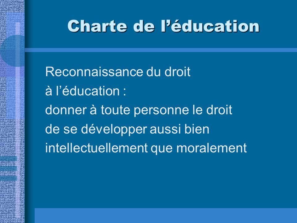 Charte de léducation Reconnaissance du droit à léducation : donner à toute personne le droit de se développer aussi bien intellectuellement que moralement