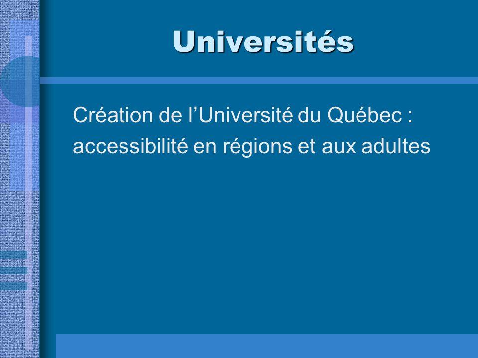 Universités Création de lUniversité du Québec : accessibilité en régions et aux adultes