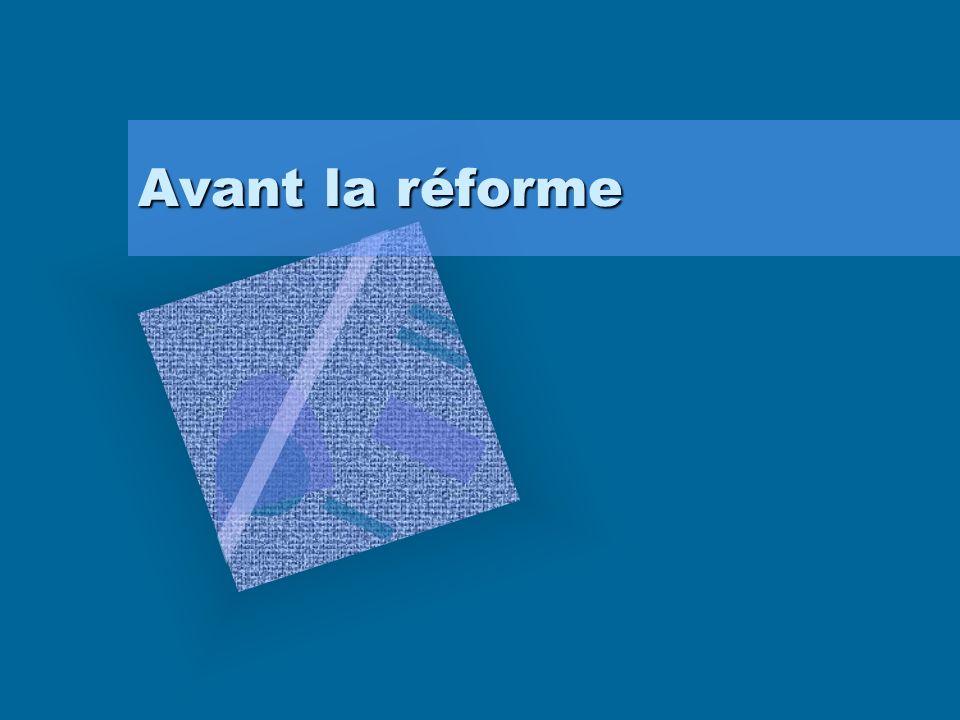 Avant la réforme
