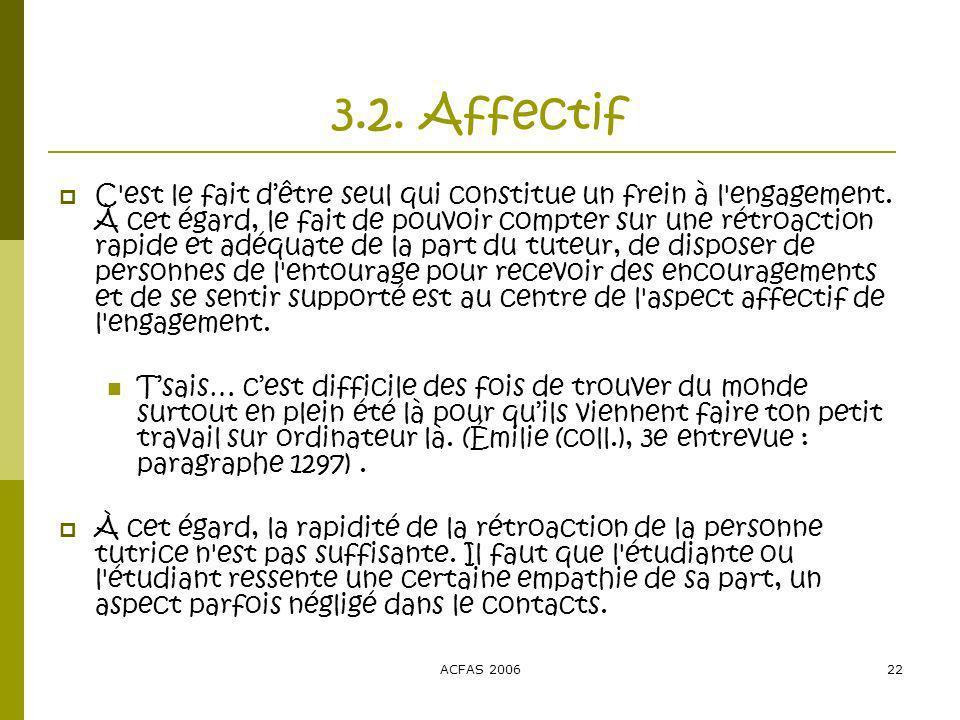 ACFAS 200622 3.2. Affectif C est le fait dêtre seul qui constitue un frein à l engagement.