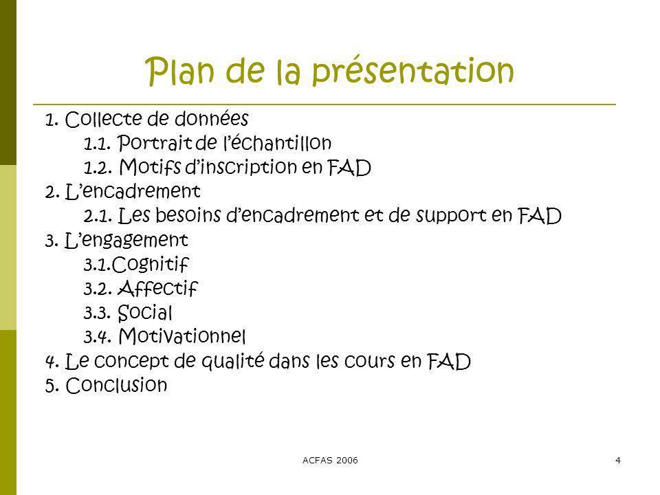 ACFAS 20064 Plan de la présentation 1. Collecte de données 1.1.