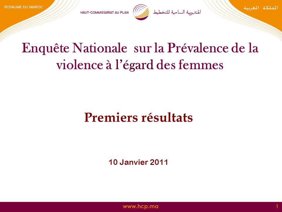 www.hcp.ma Enquête Nationale sur la Prévalence de la violence à légard des femmes Premiers résultats 10 Janvier 2011 1
