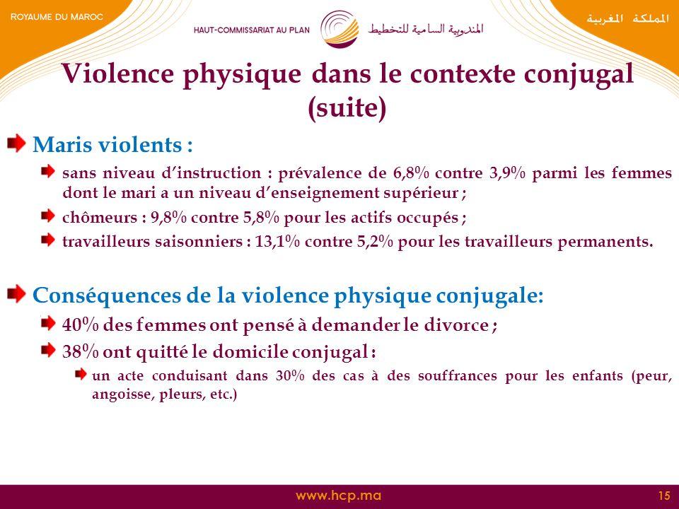 www.hcp.ma Maris violents : sans niveau dinstruction : prévalence de 6,8% contre 3,9% parmi les femmes dont le mari a un niveau denseignement supérieu