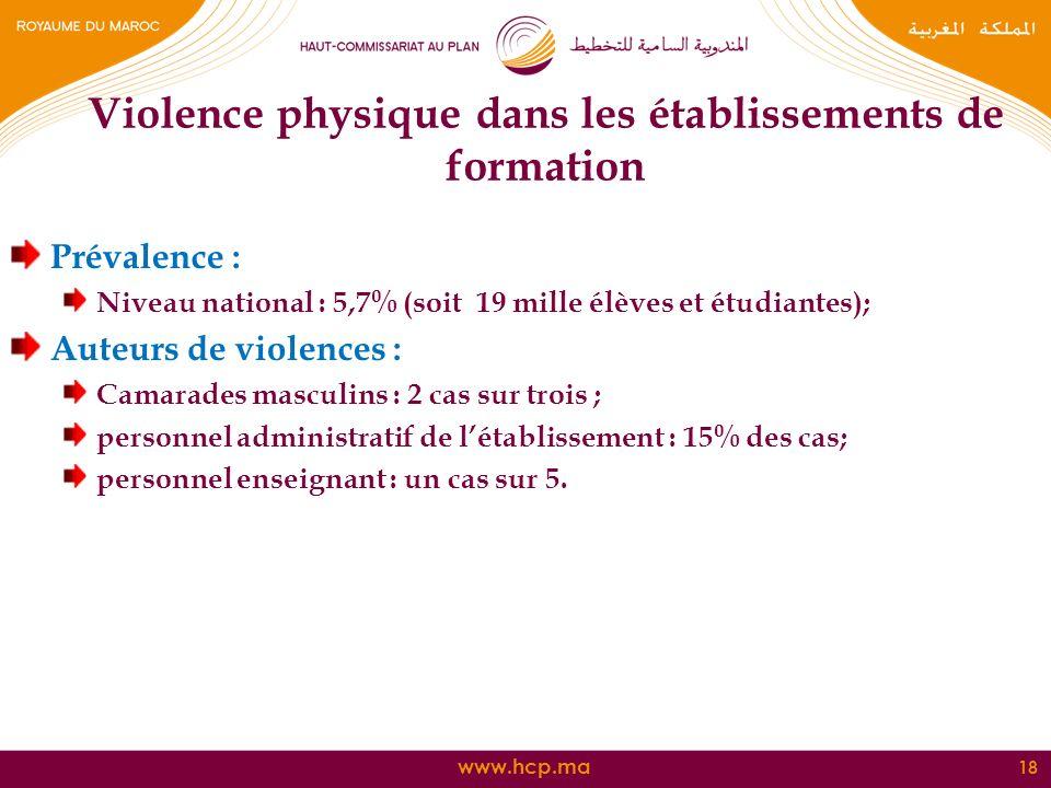 www.hcp.ma Prévalence : Niveau national : 5,7% (soit 19 mille élèves et étudiantes); Auteurs de violences : Camarades masculins : 2 cas sur trois ; pe