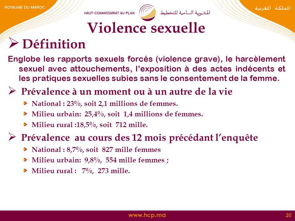 www.hcp.ma Violence sexuelle Définition Englobe les rapports sexuels forcés (violence grave), le harcèlement sexuel avec attouchements, lexposition à