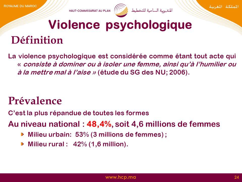 www.hcp.ma Violence psychologique Définition La violence psychologique est considérée comme étant tout acte qui « consiste à dominer ou à isoler une f