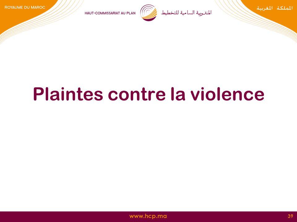 www.hcp.ma Plaintes contre la violence 39