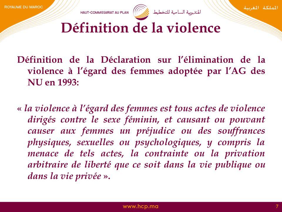 www.hcp.ma Définition de la violence Définition de la Déclaration sur lélimination de la violence à légard des femmes adoptée par lAG des NU en 1993: