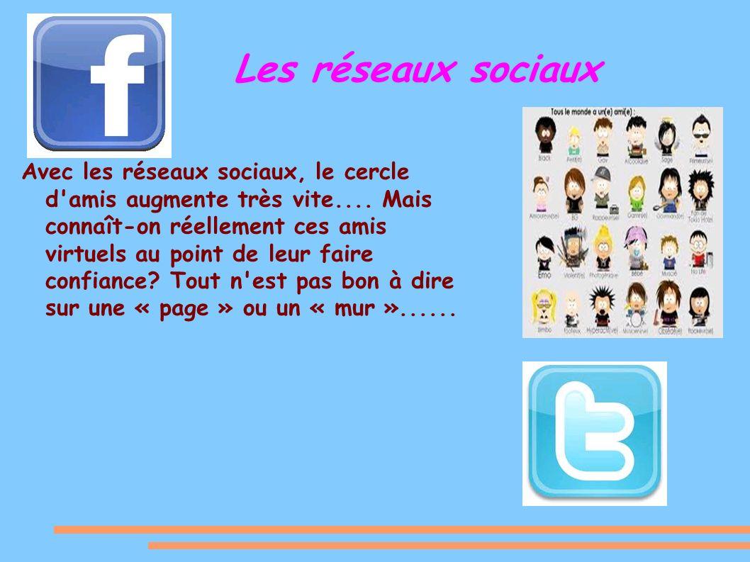 Les réseaux sociaux Avec les réseaux sociaux, le cercle d amis augmente très vite....