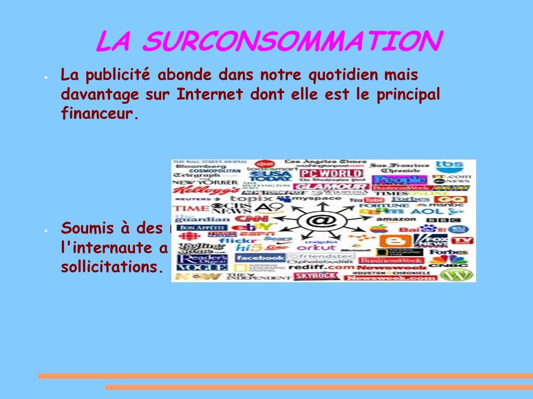 LA SURCONSOMMATION La publicité abonde dans notre quotidien mais davantage sur Internet dont elle est le principal financeur.