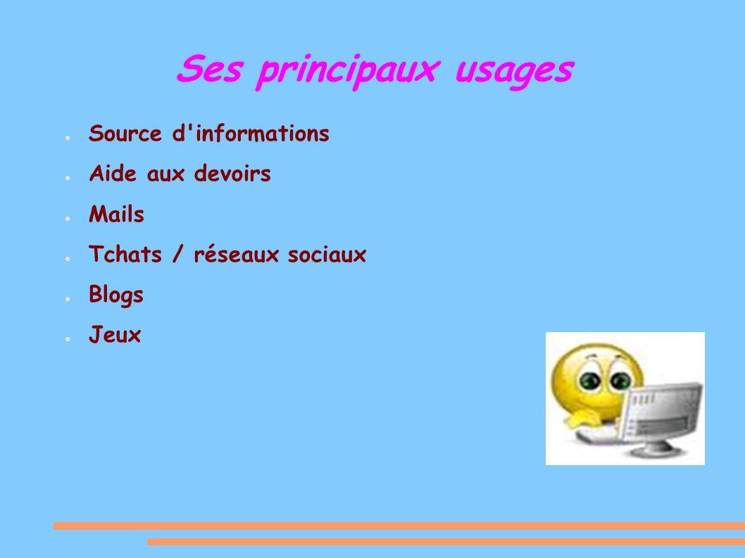 Ses principaux usages Source d informations Aide aux devoirs Mails Tchats / réseaux sociaux Blogs Jeux