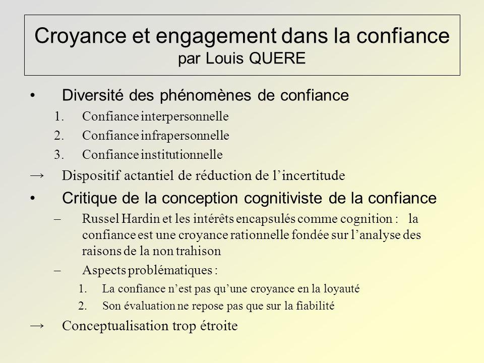 Croyance et engagement dans la confiance par Louis QUERE Diversité des phénomènes de confiance 1.Confiance interpersonnelle 2.Confiance infrapersonnel