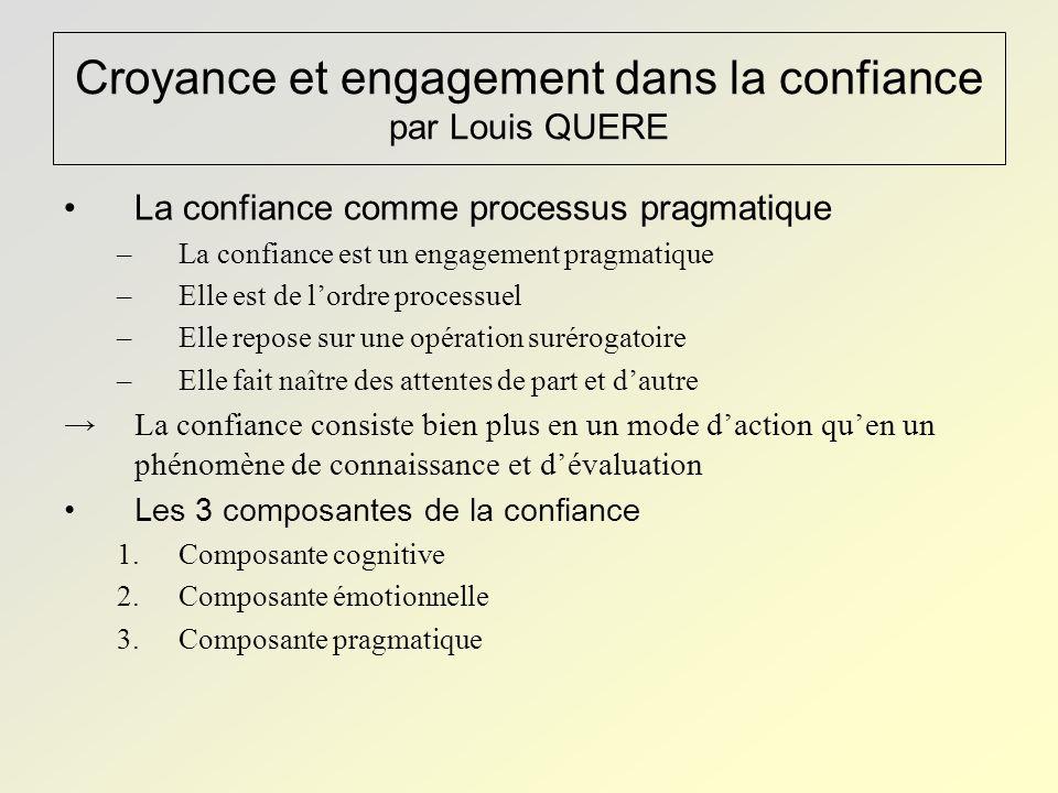 Croyance et engagement dans la confiance par Louis QUERE La confiance comme processus pragmatique –La confiance est un engagement pragmatique –Elle es