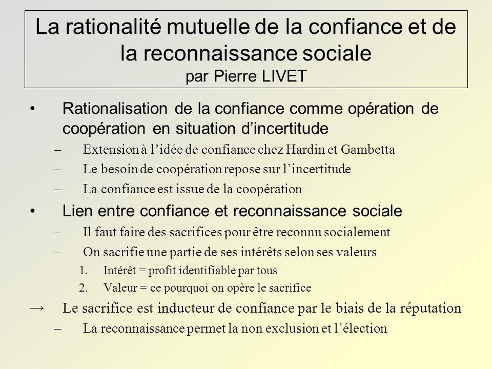 La rationalité mutuelle de la confiance et de la reconnaissance sociale par Pierre LIVET Rationalisation de la confiance comme opération de coopératio