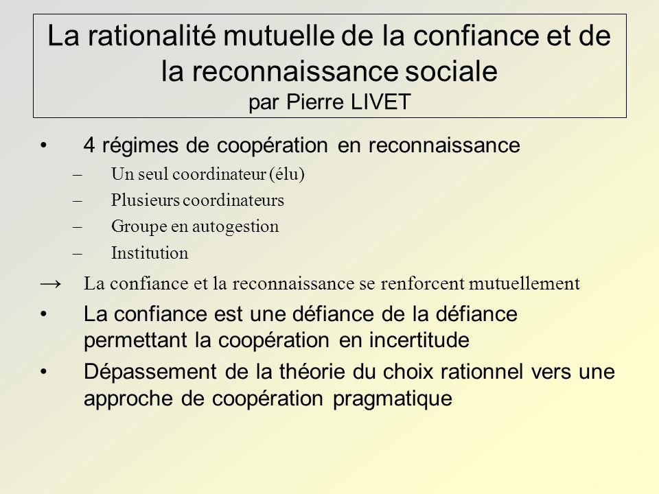 La rationalité mutuelle de la confiance et de la reconnaissance sociale par Pierre LIVET 4 régimes de coopération en reconnaissance –Un seul coordinat
