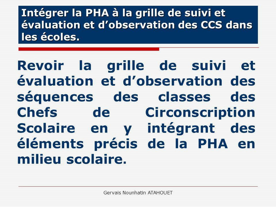 Gervais Nounhatin ATAHOUET Revoir la grille de suivi et évaluation et dobservation des séquences des classes des Chefs de Circonscription Scolaire en