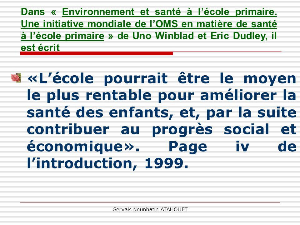 Gervais Nounhatin ATAHOUET La mise en œuvre des deux documents didactiques de la PHA en milieu scolaire dès la rentrée actuelle constitue un début de solution à la situation fort critique actuelle.