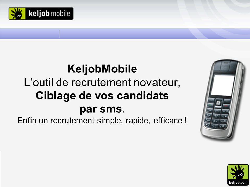 KeljobMobile Loutil de recrutement novateur, Ciblage de vos candidats par sms. Enfin un recrutement simple, rapide, efficace !