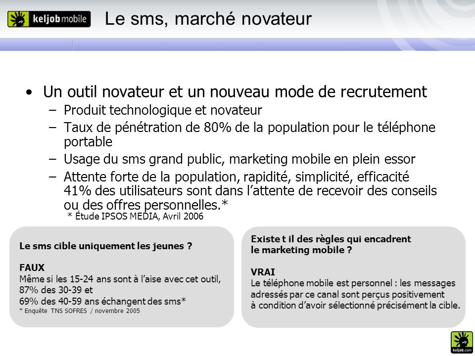 Le sms, marché novateur Un outil novateur et un nouveau mode de recrutement –Produit technologique et novateur –Taux de pénétration de 80% de la popul