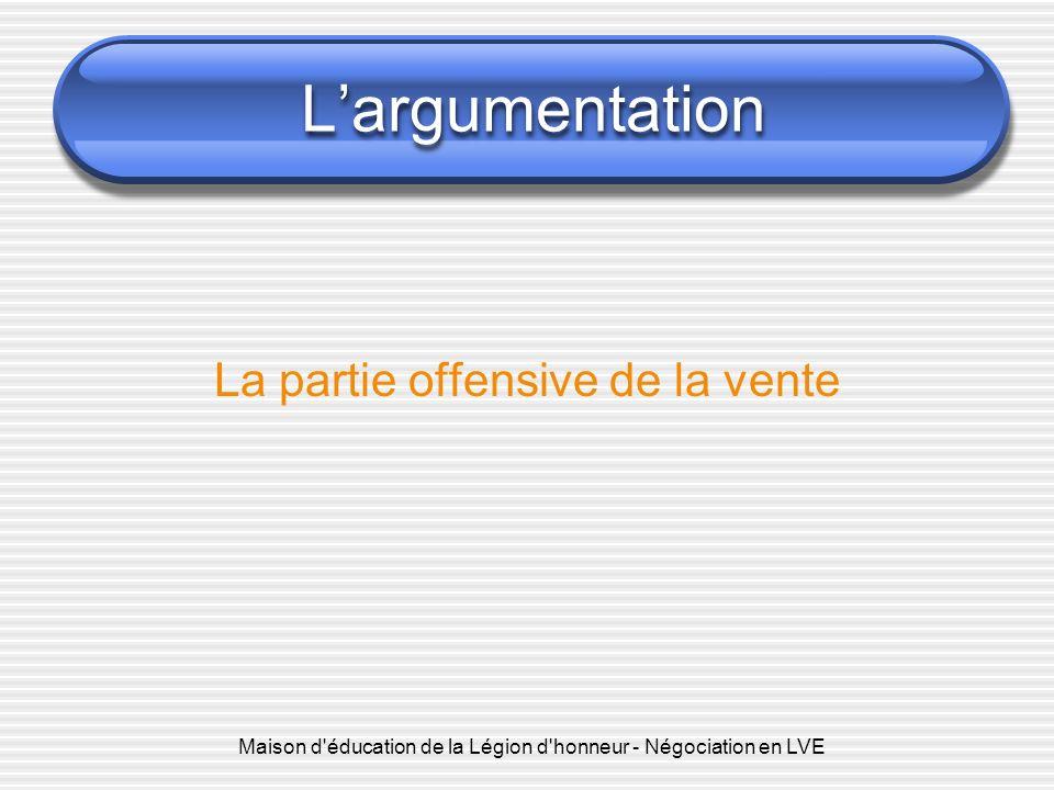 Maison d'éducation de la Légion d'honneur - Négociation en LVE Largumentation La partie offensive de la vente